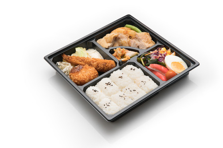 japanese cuisine. lunch box set on white background