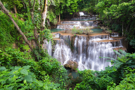 khamin: Waterfall in Thailand, called Huay or Huai mae khamin in  Kanchanaburi Provience, around with forest environment and emerald  water.