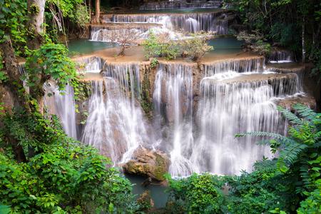 kanchanaburi: Waterfall in Thailand, called Huay or Huai mae khamin in  Kanchanaburi Provience, around with forest environment and emerald  water.