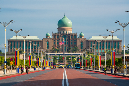 PUTRAJAYA, MALAYSIA - JANUARY 8: Malaysian Prime Ministers office on Jan 8, 2017 in Putrajaya, It is a planned city, 25 km south of capital, serves as the federal administrative centre of Malaysia.