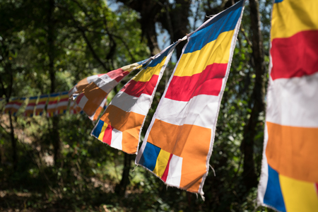 Buddhist flags color bar vertical and horizontal. Its decorative in the temple, Sikkim, India