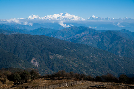 Kangchenjunga mount landscape during blue sky day time,