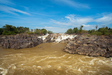 Landscape of Lee Pee waterfall in Champasak, Pakse, Southen Laos 写真素材