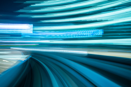 Motion blur from Yurikamome Line moving inside tunnel in Tokyo, Japan   Banco de Imagens