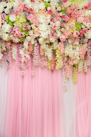 mix beautiful flowers background for wedding ceremony scene decoration