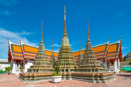 Thai architecture in Pho temple or Wat Pho in Bangkok, Thailand. Stok Fotoğraf