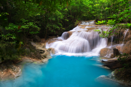 Erawan Waterfall in Thailand is locate in Kanchanaburi Provience. This waterfall is in Erawan national park inside forest. Level 1 from all 7.