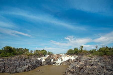 Landscape of Lee Pee waterfall in Champasak, Pakse, Southen Laos Banco de Imagens