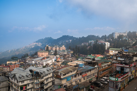 Morning time of Darjeeling town view from high angle view shot, West Bengal, India