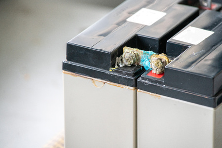 Old battery corrosion, seal lead acid battery damage.