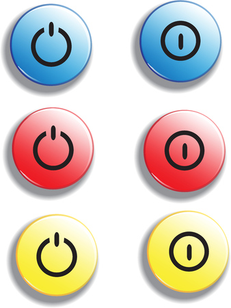 Set of colorful glossy buttons turn on off, vector items for game or web design