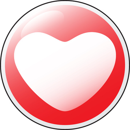 Vector glossy red round heart button . Illustration