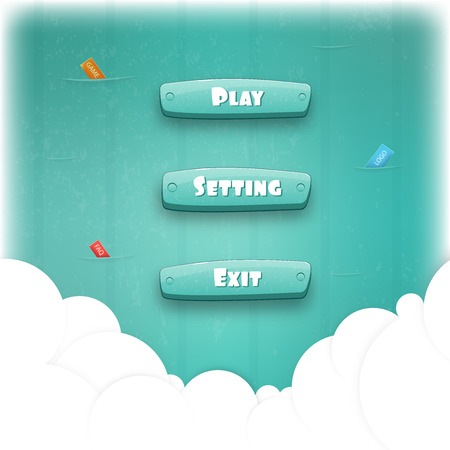 funny cartoon: Abstract Creative concept vector Interface game design (resource bar and resource icons for games). Funny cartoon design ui game control panel including text and buttons such as exit, play, settings.