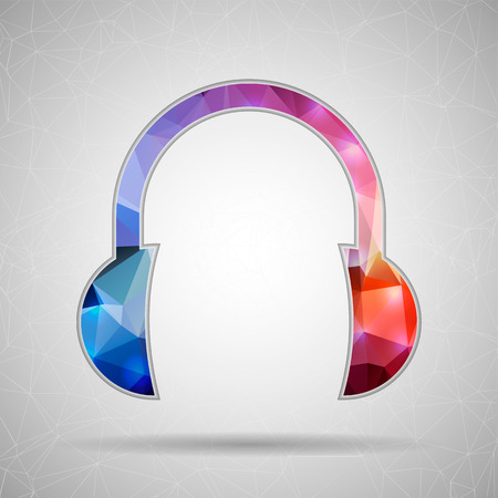 Abstract Creative concept vector icon of headphone for Web and Mobile Applications isolated on background. Vector illustration template design, Business infographic and social media, origami icons.