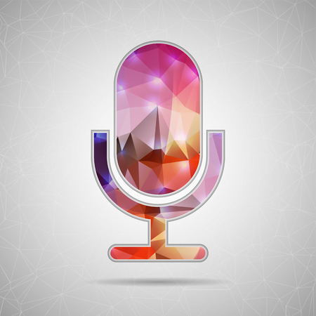 sillouette: Abstract Creative concept vector icon of microphone for Web and Mobile Applications isolated on background. Vector illustration template design, Business infographic and social media, origami icons. Illustration