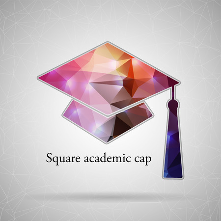 master page: Abstract Creative concept vector icon of Graduation cap for Web and Mobile Applications isolated on background. Vector illustration template design, Business infographic and social media, origami.