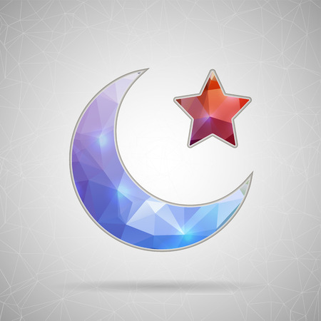 moon surface: Creative concept vector icon of Crescent Islamic symbol for Web and Mobile Applications isolated on background. Vector illustration creative template design, Business software and social media. Illustration