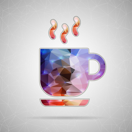 Abstract Creative concept vector icon of coffee cup for Web and Mobile Applications isolated on background. Vector illustration template design, Business infographic and social media, origami icons. Vector