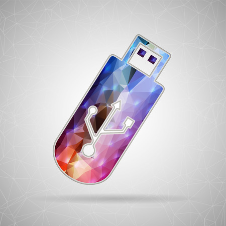 pocket pc: Abstract Creative concept vector icon of Usb for Web and Mobile Applications isolated on background. Vector illustration template design, Business infographic and social media, origami icons. Illustration