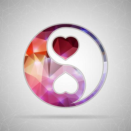Abstrakt Kreatives Konzept Vektor-Symbol von Yin Yang für Web- und Mobile-Anwendungen auf Hintergrund. Vektor-Illustration Template-Design, Business-Infografik und Social Media, Origami Symbole. Standard-Bild - 38168431