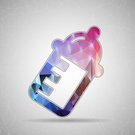 nursing bottle: Abstract Creative concept vector icon of nursing bottle for Web and Mobile Applications isolated on background. Vector illustration template design, Business infographic and social media, origami