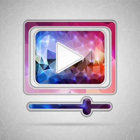 video icons: Abstract Creative concept vector icon of video player for Web and Mobile Applications isolated on background. Vector illustration template design, Business infographic and social media, origami icons.