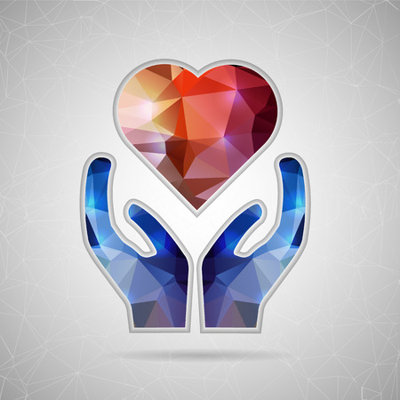 unusual valentine: Abstract Creative concept vector icon of heart in hand for Web and Mobile Applications isolated on background. Vector illustration template design, Business infographic and social media, origami icons Illustration