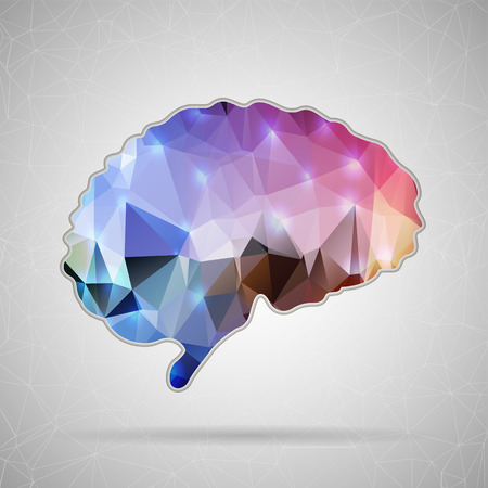 conocimiento: Icono de vector de concepto abstracto creativo del cerebro para aplicaciones Web y m�viles aislados en el fondo. Vector ilustraci�n de dise�o de plantilla, Negocio medios infograf�a y social, iconos de origami.