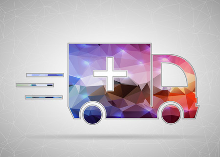 first responder: Abstract Creative concept vector icon of ambulance for Web and Mobile Applications isolated on background. Vector illustration template design, Business infographic and social media, origami icons.