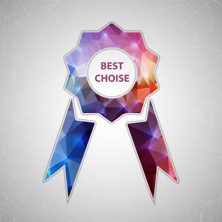 award winning: Abstract Creative concept vector icon of ribbons award for Web and Mobile Applications isolated on background. Vector illustration template design, Business infographic and social media, origami.