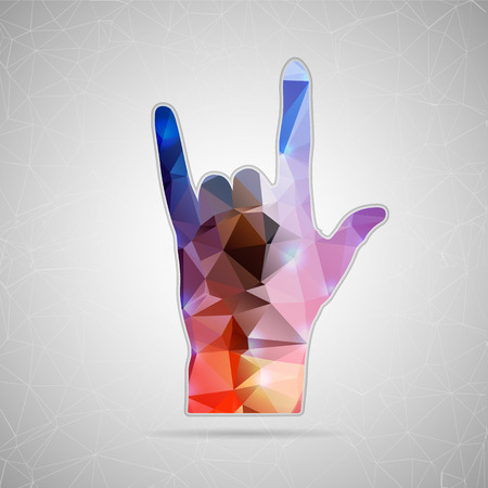 horn like: Abstract Creative concept vector icon of hand rock for Web and Mobile Applications isolated on background. Vector illustration template design, Business infographic and social media, origami icons.