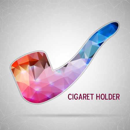 cigar shape: Abstract Creative concept vector icon of smoking pipe for Web and Mobile Applications isolated on background. Vector illustration template design, Business infographic and social media, origami icons. Illustration
