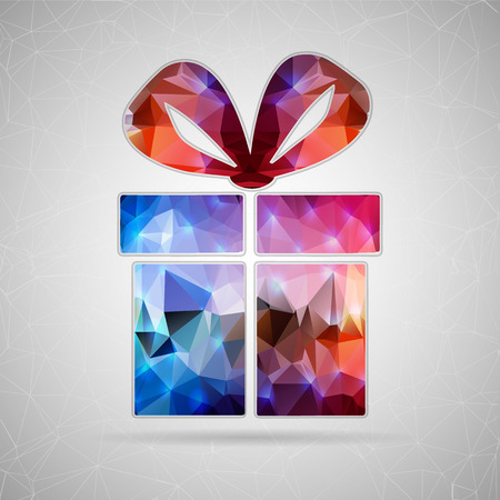 christmas gifts: Abstract Creative concept vector icon of gift box for Web and Mobile Applications isolated on background. Vector illustration template design, Business infographic and social media, origami icons.