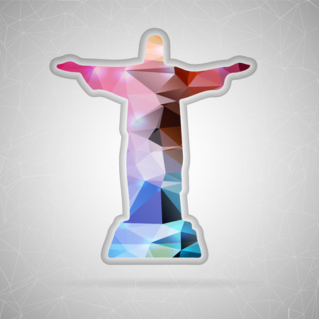 cristo: Abstract Creative concept vector icon of Statue of Christ. For Web and Mobile applications isolated on background, design illustration template, flat business infographic, social media, art origami.