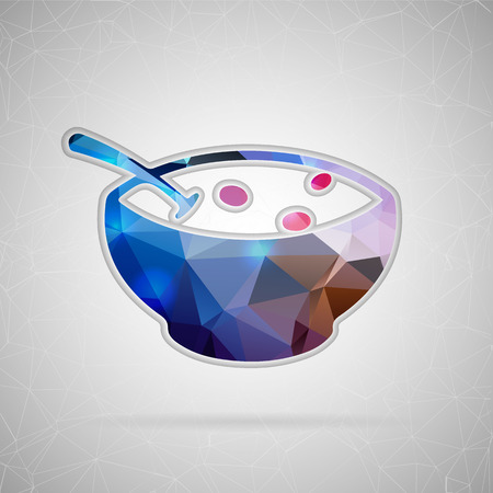 Abstract creative concept vector icon of soup. For web and mobile content isolated on background, unusual template design, flat silhouette object and social media image, triangle art origami.