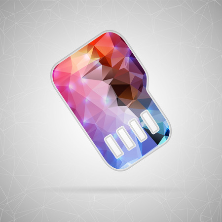 objects equipment: Abstract creative concept vector icon of sim card. For web and mobile content isolated on background, unusual template design, flat silhouette object and social media image, triangle art origami. Illustration