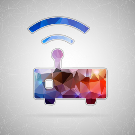hub computer: Abstract creative concept vector icon of wifi router. For web and mobile content isolated on background, unusual template design, flat silhouette object and social media image, triangle art origami.