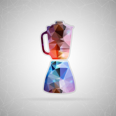 blending: Abstract creative concept vector icon of blender. For web and mobile content isolated on background, unusual template design, flat silhouette object and social media image, triangle art origami.