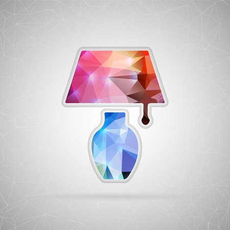 illuminator: Abstract creative concept vector icon of lamp. For web and mobile content isolated on background, unusual template design, flat silhouette object and social media image, triangle art origami.