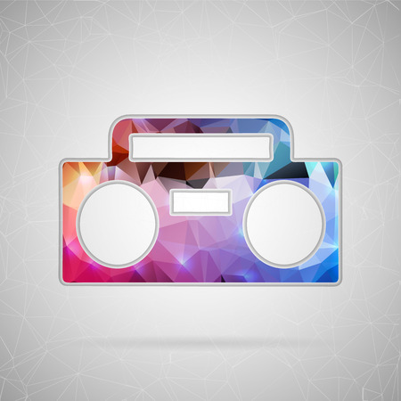 Abstract creative concept vector icon of boombox. For web and mobile content isolated on background, unusual template design, flat silhouette object and social media image, triangle art origami. Illustration