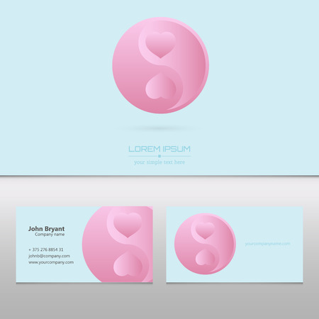 visit card: Abstract Creative concept vector visit card of Ying yang for web and mobile applications isolated on background, art illustration template design, business infographic and social media, icon, symbol.
