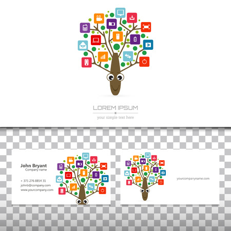 tree logo: Abstract concept creative vector tree logo tree with colorful application infographics icon. Art illustration creative template design, Business software and social media symbol.