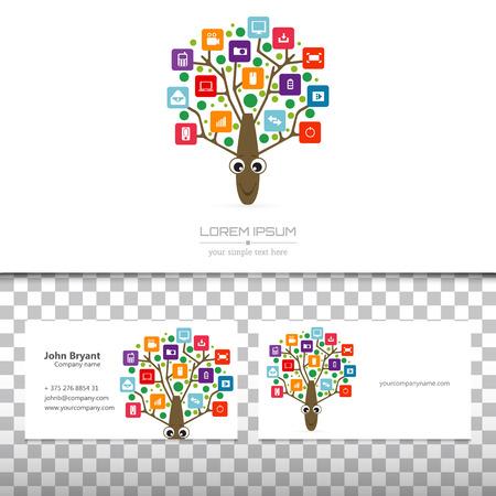arbol p�jaros: Concepto abstracto del vector creativo logo �rbol �rbol con infograf�as de aplicaci�n de colores icono. Ilustraci�n del arte de dise�o de plantilla creativo, el software de negocios y el s�mbolo de los medios de comunicaci�n social.
