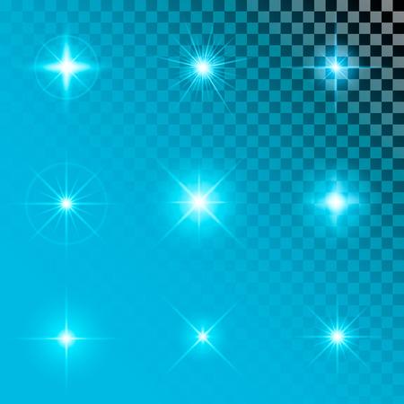 Kreatives Konzept Vektor-Satz von glow Lichteffekt Sterne platzt mit Scheinen auf schwarzem Hintergrund isoliert. Zur Illustration Vorlage Kunst-Design, Banner für Weihnachten zu feiern, Magie Blitzenergie ray. Standard-Bild - 42113860