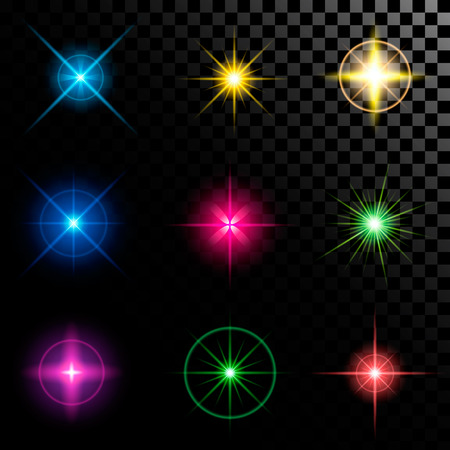 disco backdrop: Creative concept Vector set of glow light effect stars bursts with sparkles isolated on black background. For illustration template art design, banner for Christmas celebrate, magic flash energy ray.