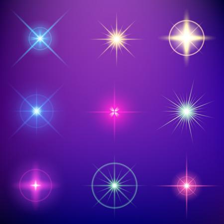 lucero: Conjunto de vectores concepto creativo de luz resplandor efecto estrellas estalla con destellos aislados sobre fondo negro. Para el diseño de arte abstracto plantilla, bandera para celebrar la Navidad, la magia rayos de energía flash.