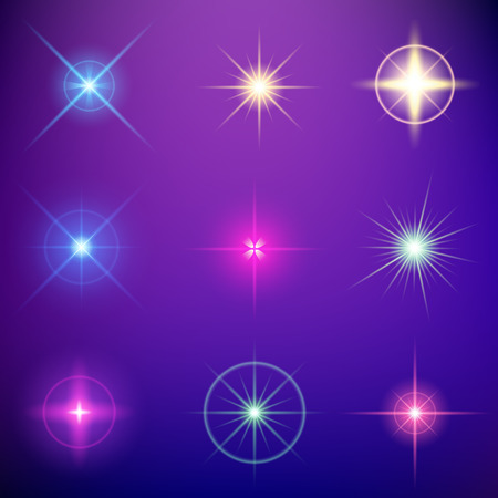 star: Creative concept Vector set of glow light effect stars bursts with sparkles isolated on black background. For illustration template art design, banner for Christmas celebrate, magic flash energy ray.