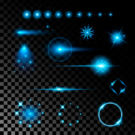 light ray: Creative concept Vector set of glow light effect stars bursts with sparkles isolated on black background. For illustration template art design, banner for Christmas celebrate, magic flash energy ray.