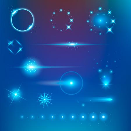raumschiff: Kreatives Konzept Vektor-Satz von glow Lichteffekt Sterne platzt mit Scheinen auf schwarzem Hintergrund isoliert. Zur Illustration Vorlage Kunst-Design, Banner für Weihnachten zu feiern, Magie Blitzenergie ray.