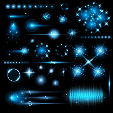 fantasy: Creative concept Vector set of glow light effect stars bursts with sparkles isolated on black background. For illustration template art design, banner for Christmas celebrate, magic flash energy ray.